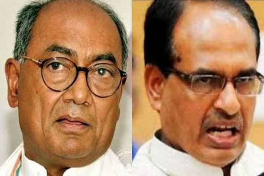 Digvijaya Singh (Left) and Shivraj Singh Chouhan (Right)