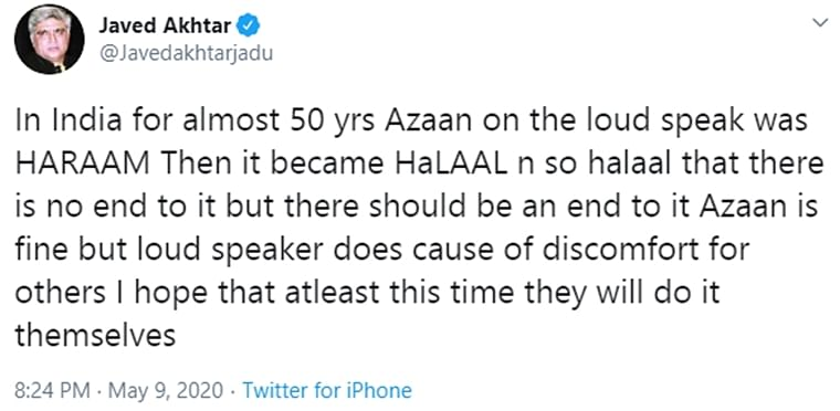 Javed Akhtar hits out against azaan loudspeakers, says 'in India it was Haraam for almost 50 years'