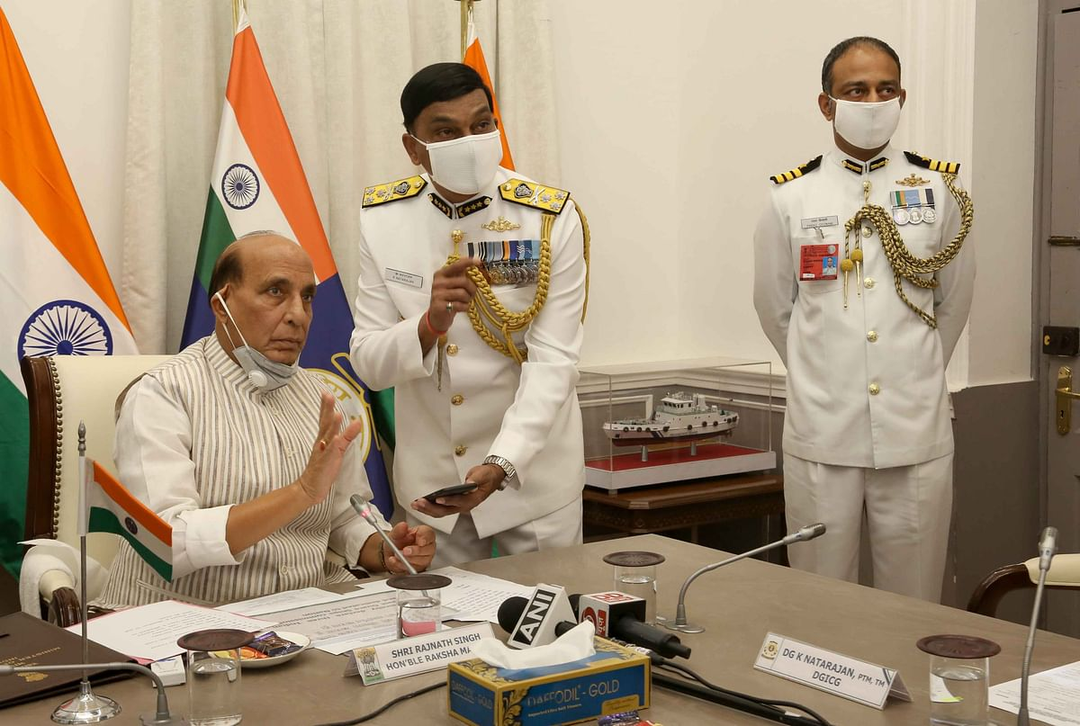 Raksha Mantri Rajnath Singh commissions Indian Coast Guard Ship 'Sachet' and two interceptor boats