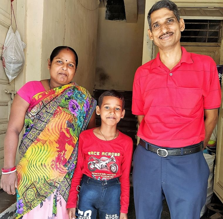 UP Migrant family: Subedar Pandey with wife Tara and Son Rishab