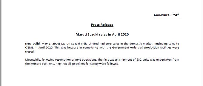 Maruti Suzuki announces zero sales for April citing lockdown