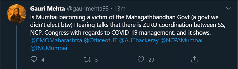 Twitter user claims there's zero coordination between Sena-NCP-Cong, check out Aaditya Thackeray's reply