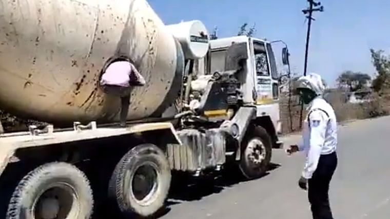 No country for poor: Police catches 18 migrants travelling from Maharashtra to Lucknow in cement mixing truck
