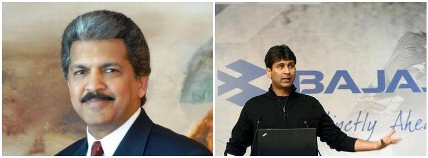Anand Mahindra (L) and Rajiv Bajaj (R)