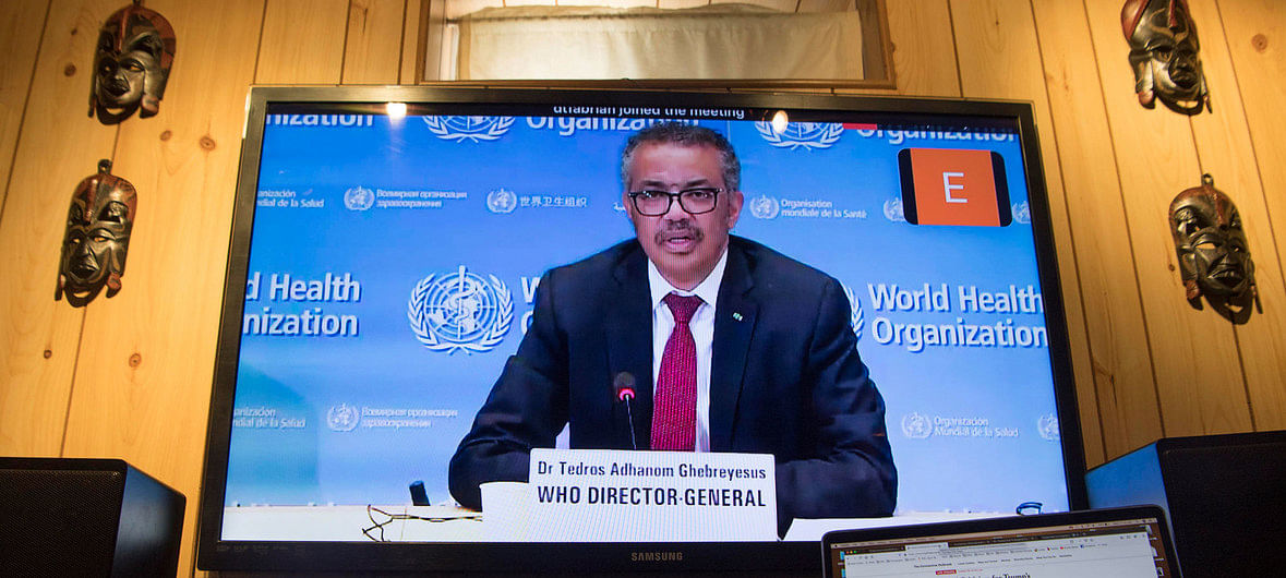 WHO Director-General Tedros Adhanom Ghebreyesus briefs virtually on the COVID-19 pandemic in Geneva.