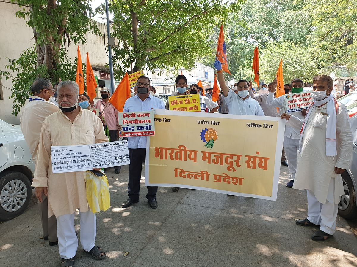 RSS-affiliated trade union holds protest against relaxation of labour laws during Coronavirus-induced lockdown