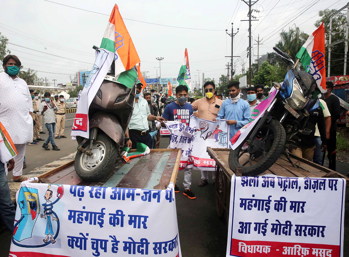 Congress takes out tractor rally against farm laws and rising fuel prices in Nagpur