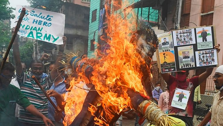 Dharamshala residents call for boycott of Chinese goods; burn effigy of Chinese president Xi Jinping