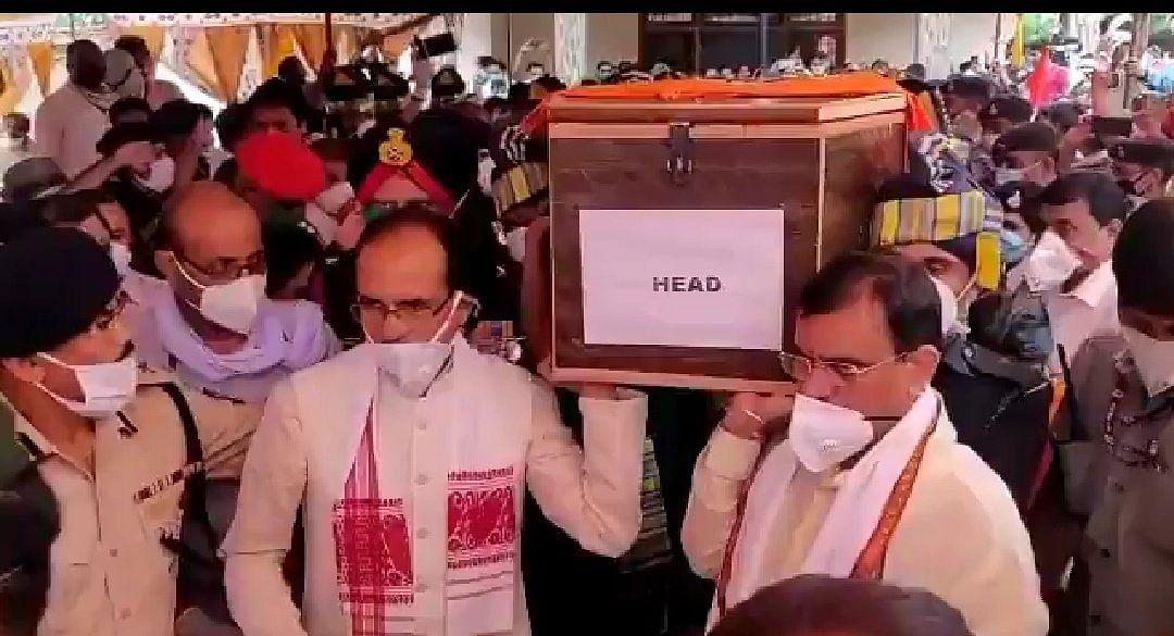Madhya Pradesh: People in Rewa gather to pay obeisance to martyr Deepak Singh, CM Shivraj Singh attends his last journey
