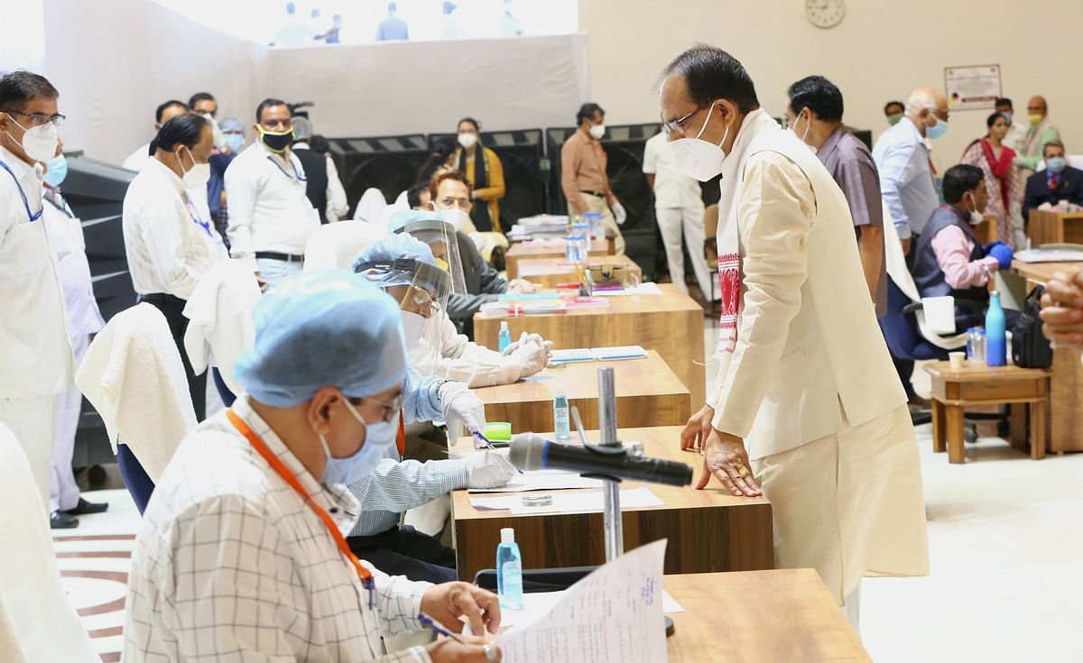 Madhya Pradesh Chief Minister Shivraj Singh Chouhan arrives to cast his vote for Rajya Sabha elections, in the State Assembly, in Bhopal.