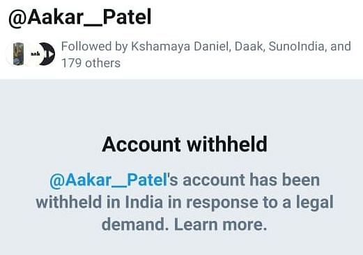 Why did Twitter ban former Amnesty India head Aakar Patel's account in India?