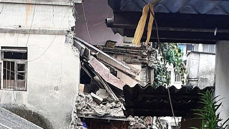 A portion of dilapidated three-storey building collapsed in Kurla on Thursday. No injuries have been reported in the incident.