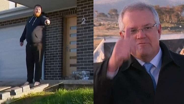 Get off my grass Morrison! Homeowner tells Australian PM to step away from his lawn while addressing the media
