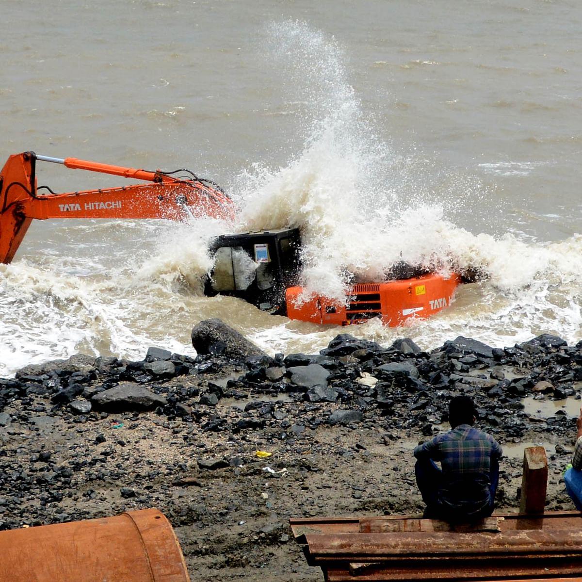 Mumbai: JCB vehicle used in Coastal Road project falls in sea, retrieved