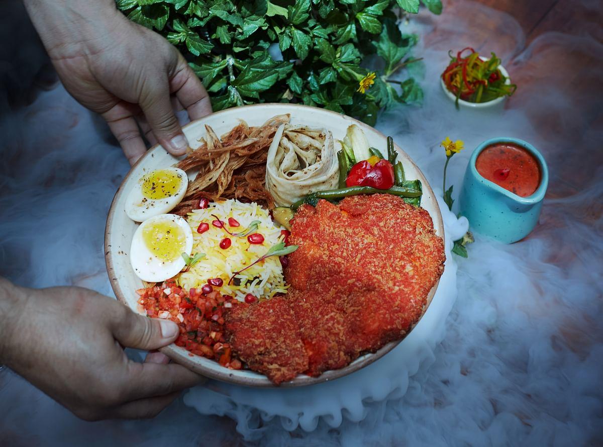 Koliwada Chicken Cutlet, Indian bowl meal