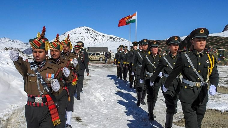 A file photograph of Indian and Chinese troops