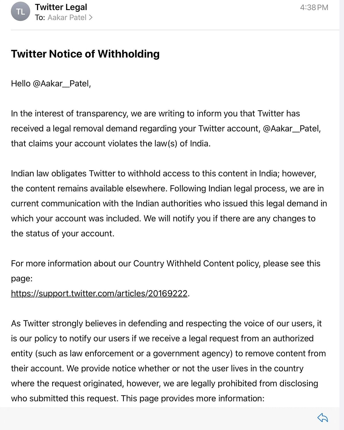 Notice by Twitter to Aakar Patel.