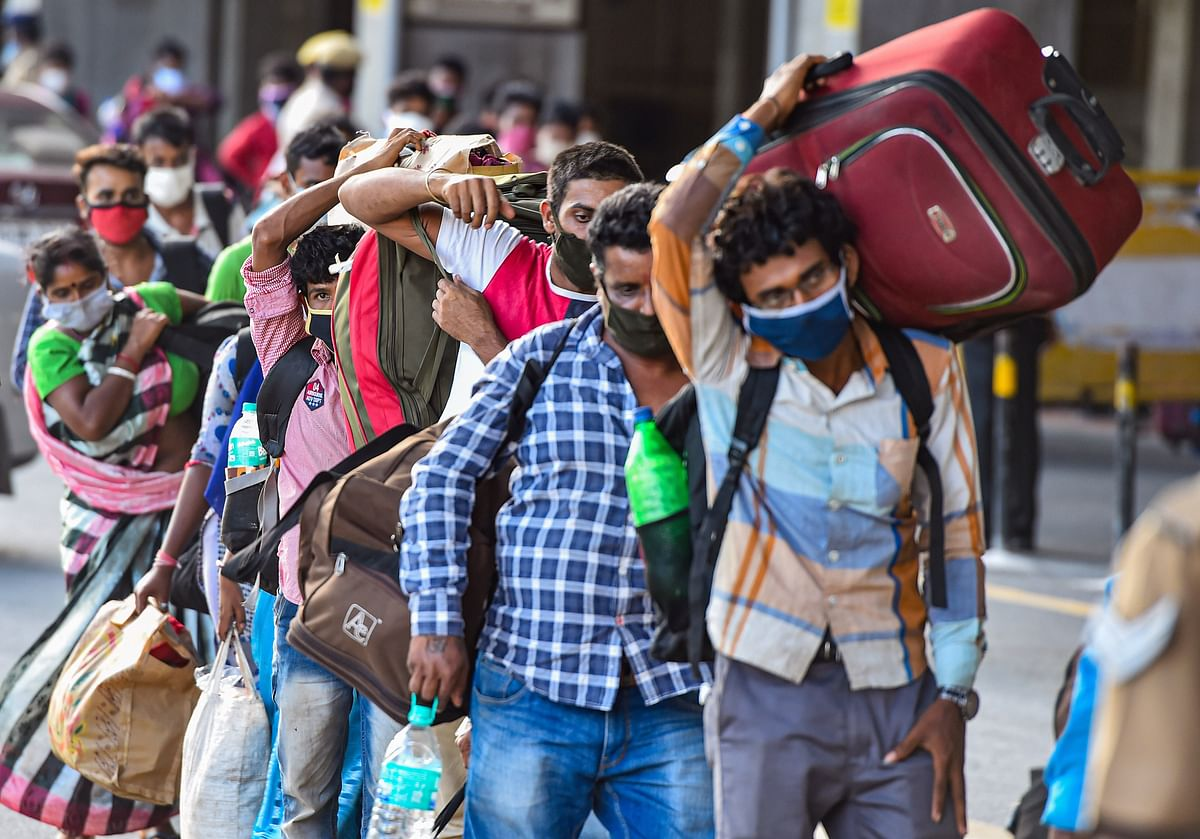 Labourers set off for Mumbai on foot, but Cyclone Nisarga holds them back