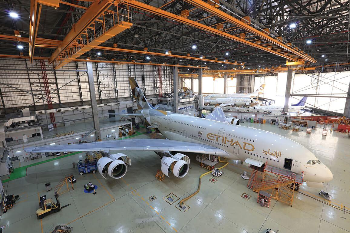 A380 inside hangar