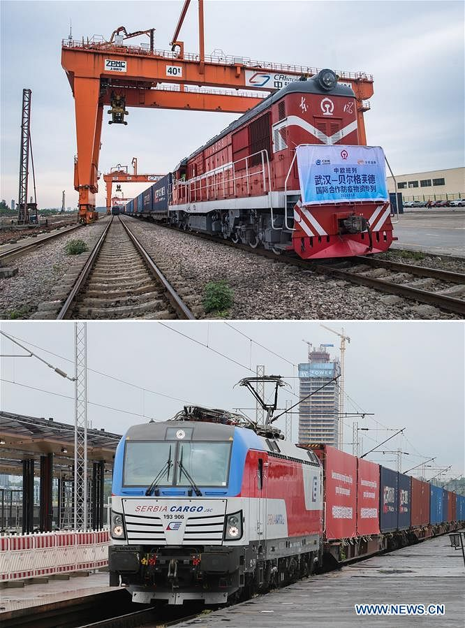 Combo photo shows a China-Europe freight train carrying 294.42 tons of anti-epidemic supplies bound for Belgrade of Serbia preparing to depart from Wujiashan railway container center station in Wuhan, central China's Hubei Province (top, photo taken on May 9, 2020 by Xiao Yijiu) and the China-Europe freight train arriving in Belgrade, Serbia (bottom, photo taken on May 26, 2020 by Shi Zhongyu). Initiated in 2011, the China-Europe rail transport service is considered a significant part of the Belt and Road Initiative to boost trade between China and countries participating in the program. Amid the coronavirus pandemic, the service remained a reliable transportation channel as air, sea and road transportation have been severely affected. The freight trains have also been playing a crucial role in helping with the fight against the pandemic in Europe, sending massive quantities of medical supplies such as face masks and goggles.