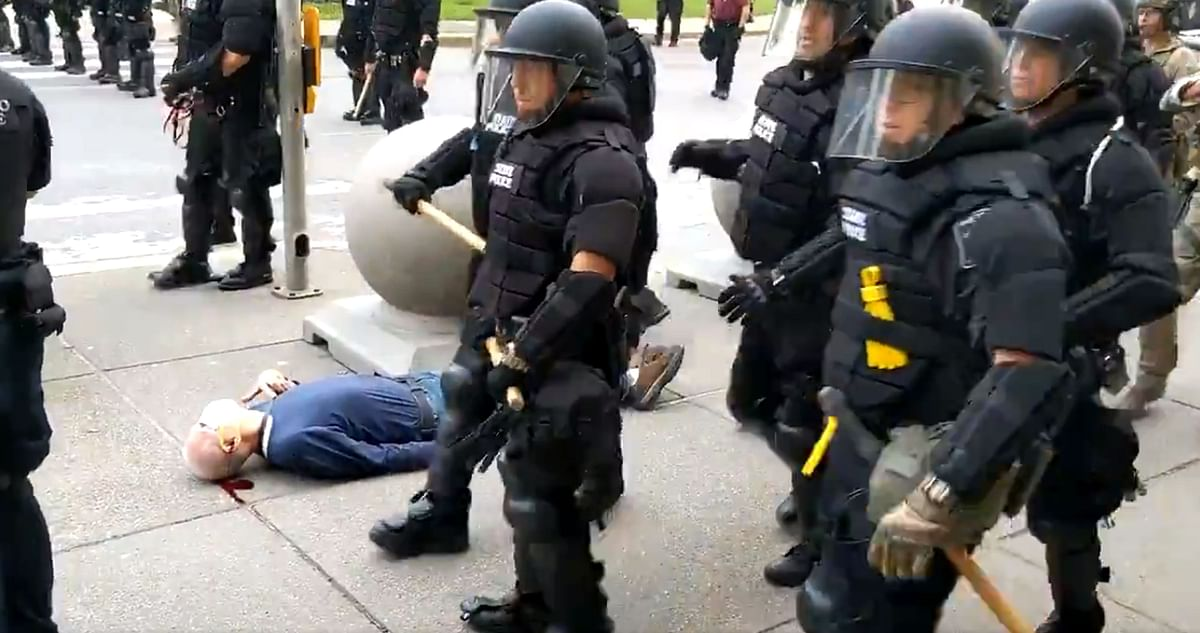 he protester was reported to be in stable but serious condition at a local hospital