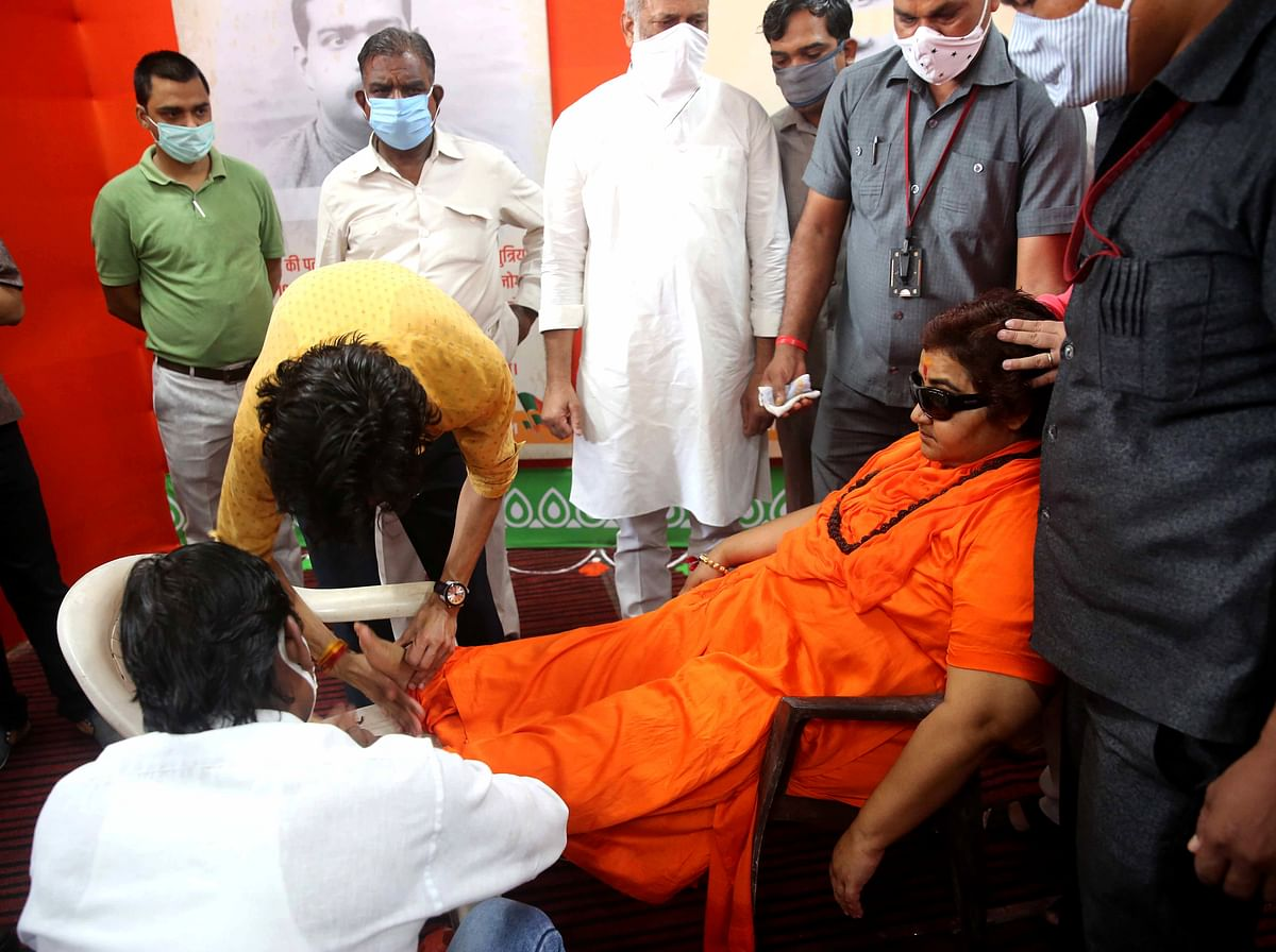 Madhya Pradesh: MP Pragya Thakur falls unconscious in BJP office