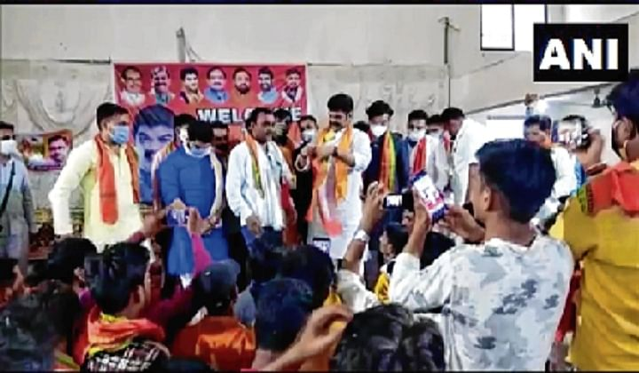 State minister Govind Singh Rajput was seen addressing a large number of followers at a hall in Rahatgarh town.