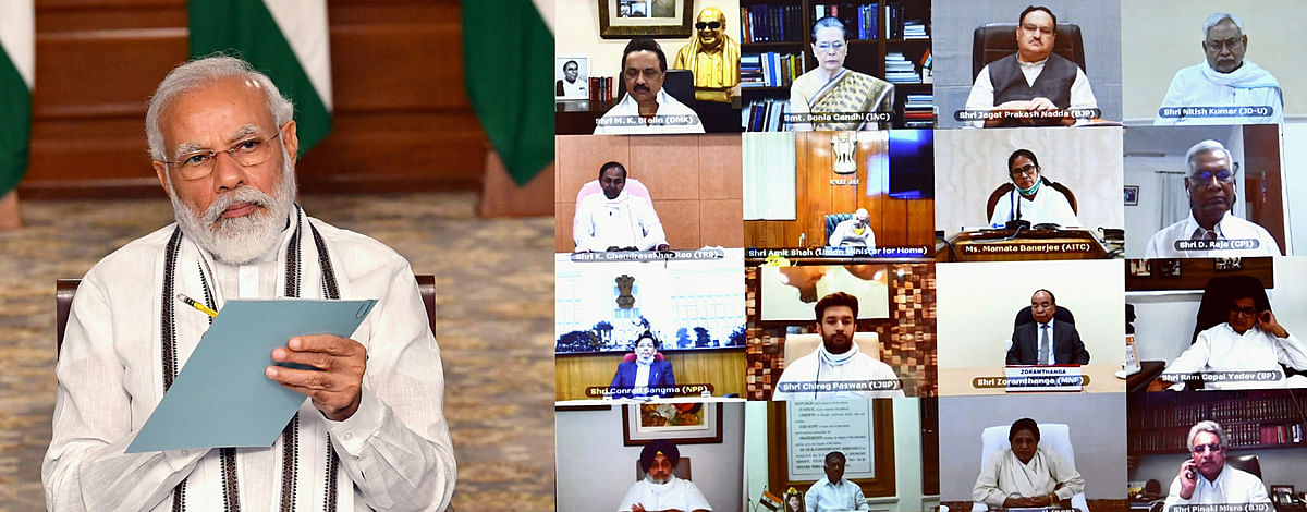 Prime Minister Narendra Modi held an All Party Meeting via video conferencing to discuss the situation in India-China border areas, in New Delhi on Friday.