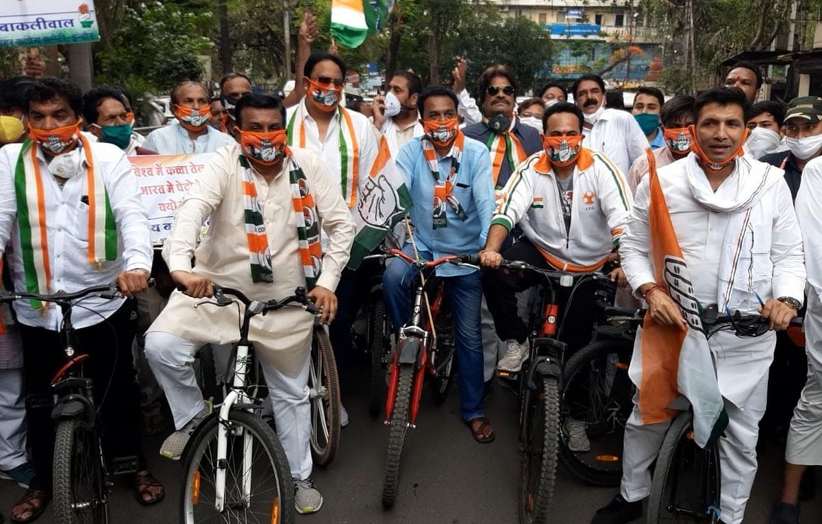 Congress leaders participate in Cycle Rally to protest against the price hike, in Indore on Wednesday.