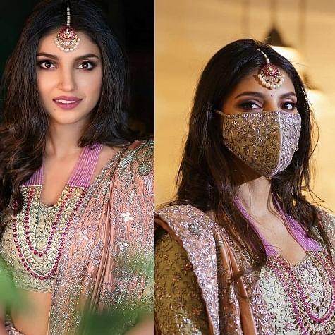 Rana Daggubati bride-to-be Miheeka Bajaj looks ethereal in a stunning lehenga, adds a bejewelled mask to her ensemble