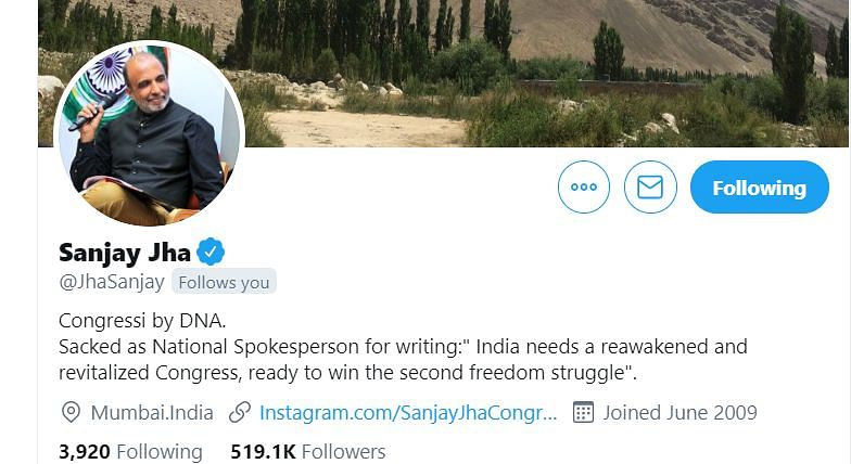 Sacked INC spokesman Sanjay Jha updates Twitter bio on Emergency day, says 'ready to win second freedom struggle'