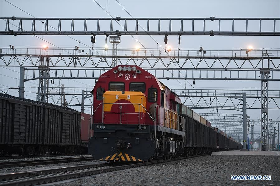 A China-Europe freight train pulls out of Alataw Pass in northwest China's Xinjiang Uygur Autonomous Region, April 12, 2020. Initiated in 2011, the China-Europe rail transport service is considered a significant part of the Belt and Road Initiative to boost trade between China and countries participating in the program. Amid the coronavirus pandemic, the service remained a reliable transportation channel as air, sea and road transportation have been severely affected. The freight trains have also been playing a crucial role in helping with the fight against the pandemic in Europe, sending massive quantities of medical supplies such as face masks and goggles.