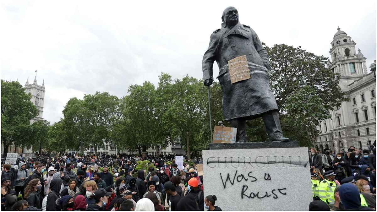 The Churchill statue that was vandalised