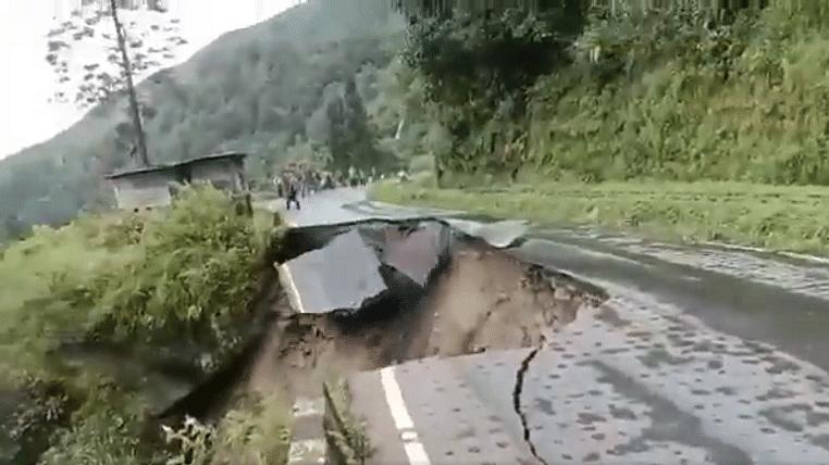 Watch: Amid heavy rain landslide in Darjeeling damages newly redeveloped road; Met Dept predicts heavy rainfall