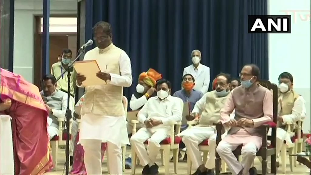 Prabhuram Choudhary take oath as Cabinet Ministers at Raj Bhawan in Bhopal.