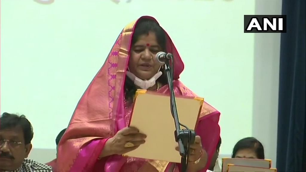 Imarti Devi take oath as Cabinet Ministers at Raj Bhawan in Bhopal.