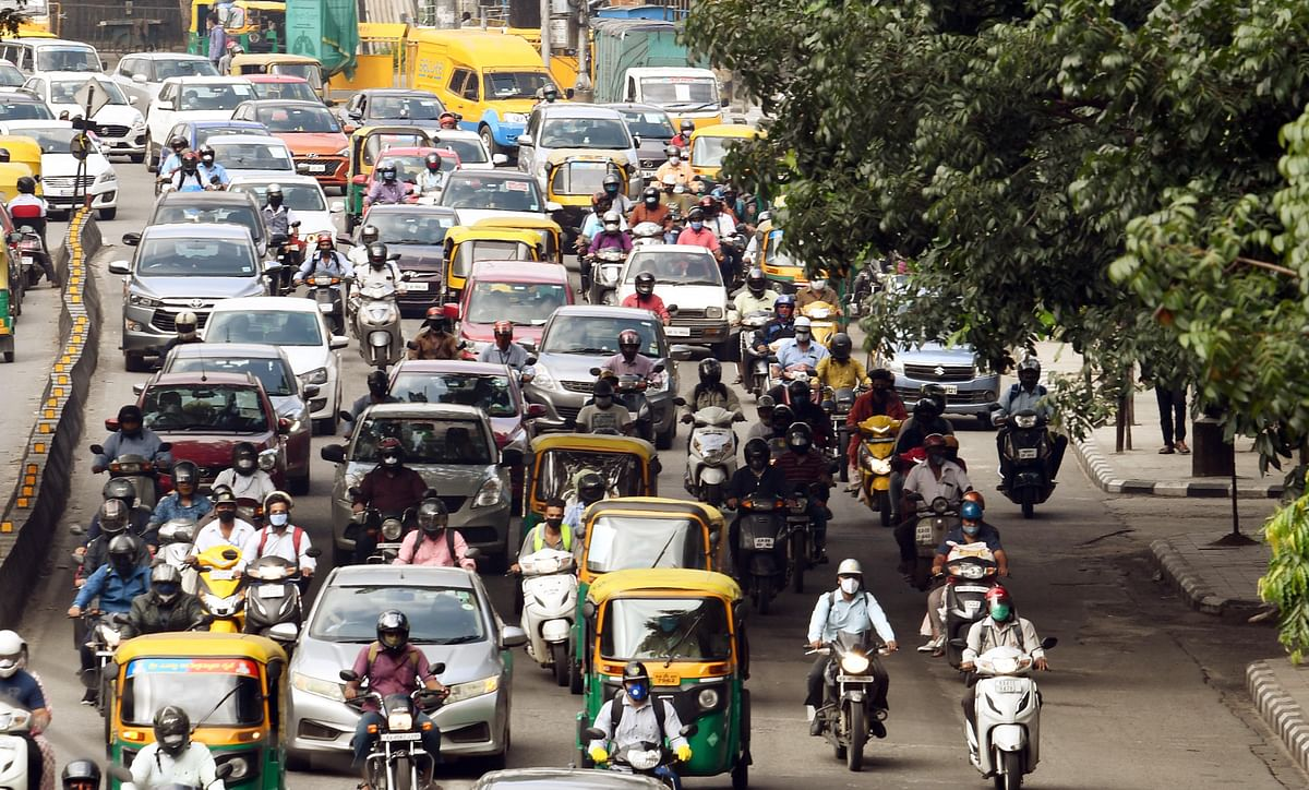 Heavy traffic movement is seen at Mysore Road in Bengaluru on Wednesday.