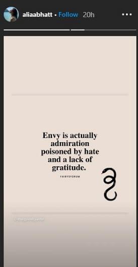 Alia Bhatt's cryptic tweet about envy and silence post FIR against Rhea Chakraborty