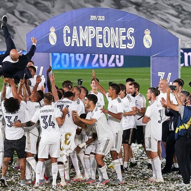 Social distancing? Gareth 'Bales' out  on Real Madrid's title celebrations