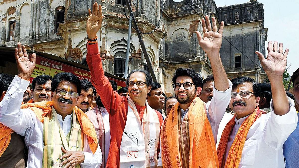 Arvind Sawant (L), Uddhav Thackeray (2L), Aaditya Thackeray (2R), and Sanjay Raut (R) arriving to offer prayers at the makeshift Ram Lalla temple, in Ayodhya, in 2019.