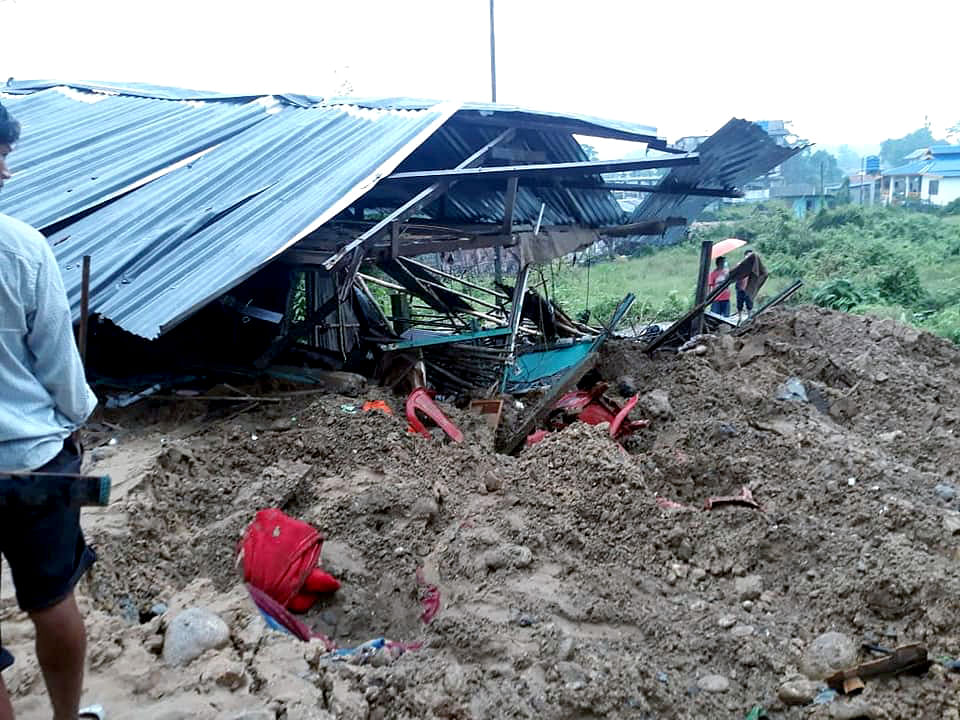 Debris after a massive landslide due to incessant rainfall, at Papum Pare district on Friday.