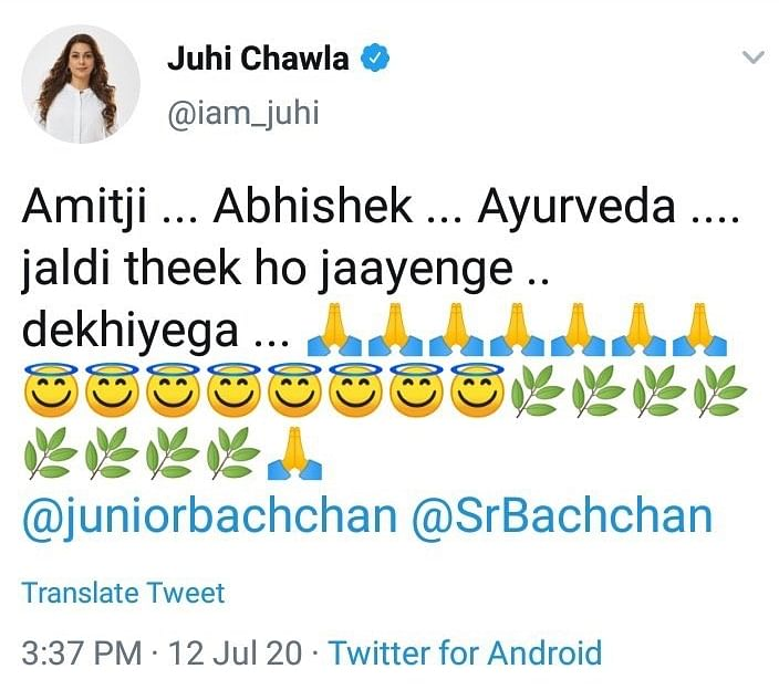 Juhi Chawla deletes tweet with 'Ayurveda' while wishing the Bachchans; later says not a typo