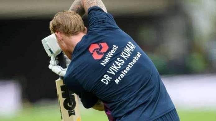 England skipper Ben Stokes wears jersey with Indian origin Dr Vikas Kumar's name