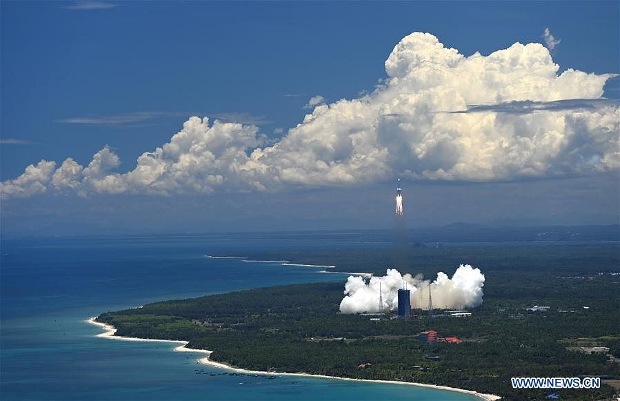 A Mars probe is launched on a Long March-5 rocket from the Wenchang Spacecraft Launch Site in south China's Hainan Province, July 23, 2020.
