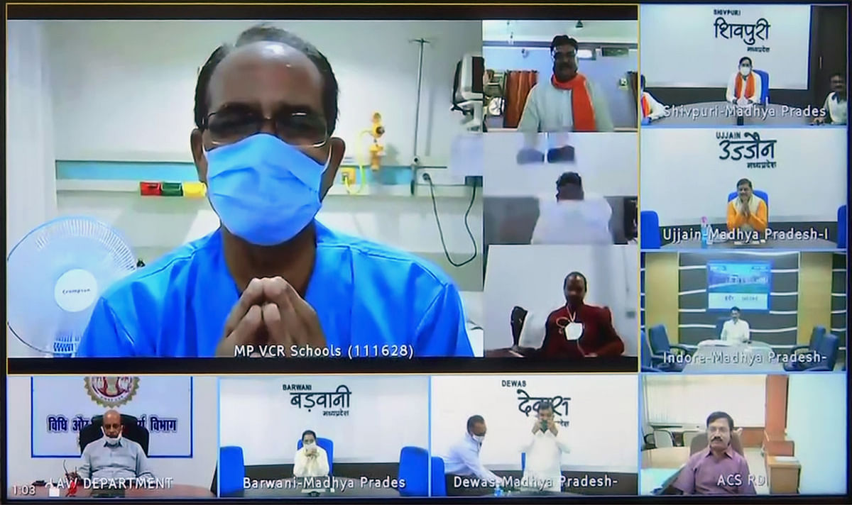 Madhya Pradesh Chief Minister Shivraj Singh Chouhan who undergoing treatment for COVID-19, chairs a virtual cabinet meeting from the hospital, in Bhopal on Tuesday.