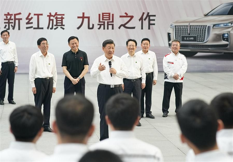 Chinese President Xi Jinping, also general secretary of the Communist Party of China Central Committee and chairman of the Central Military Commission, learns about the reform and development of state-owned enterprises at the R&D headquarters of automaker FAW Group in Changchun, northeast China's Jilin Province, July 23, 2020
