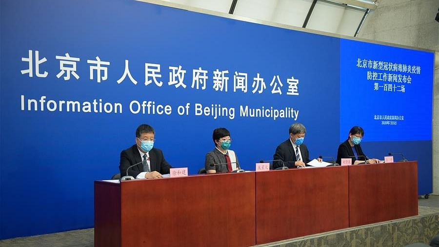 A press conference is held by the Information Office of Beijing Municipality in Beijing, capital of China, July 5, 2020. Beijing had reported single-digit COVID-19 cases for seven consecutive days by Saturday, local authorities said Sunday. (Xinhua/Peng Ziyang)