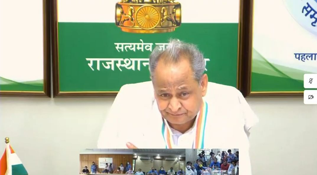 Gehlot addressing a press conference through video conferencing from his official residence