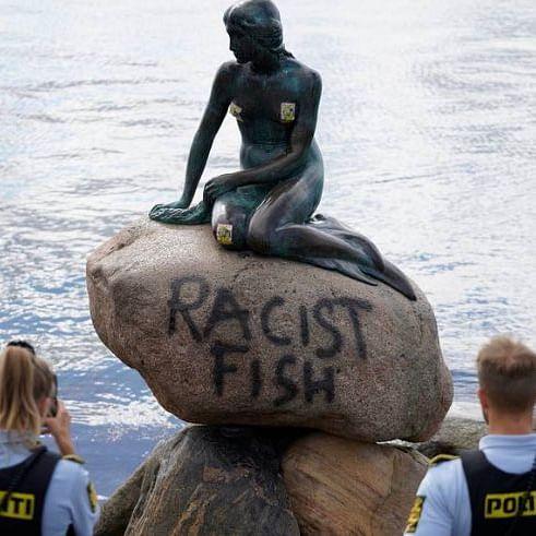 Wait, what? Copenhagen's 'Little Mermaid' statue vandalised, labelled 'racist fish'