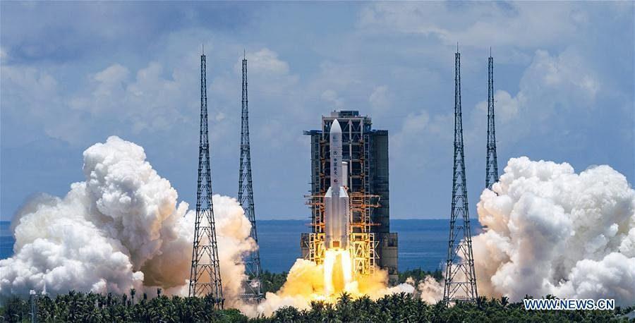 A Mars probe is launched on a Long March-5 rocket from the Wenchang Spacecraft Launch Site in south China's Hainan Province, July 23, 2020